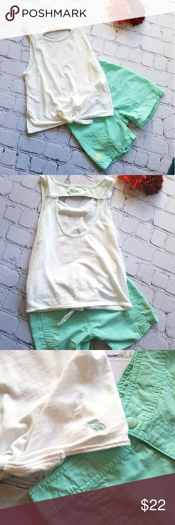 Abercrombie Tank & Columbia Shorts Girls Sz M 6 Cute outfit combo!!! Great condition. Abercrombie & Fitch girls tank. White with teal stitching. Size M. Cutout back, tie front. Columbia teal nylon shorts.  Size 6. Adjustable waist. Columbia logo on side. Great for water sports or hiking. No pockets. Both machine washable. Abercombie Kids Matching Sets