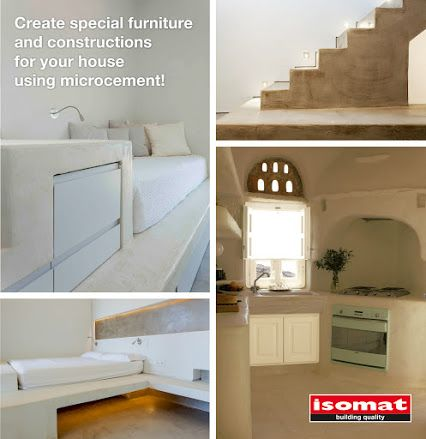 Use #microcement coatings to create unique built-in #furniture in the bathroom, kitchen, yard, or even the bedroom and your living room!  Built-in furniture from microcement not only constitute a simple and low-cost solution of furnishing, but they also provide your living space with unique design and aesthetics! They are such simple and monolithic structures that they can be combined with almost all decorative and architectural styles.