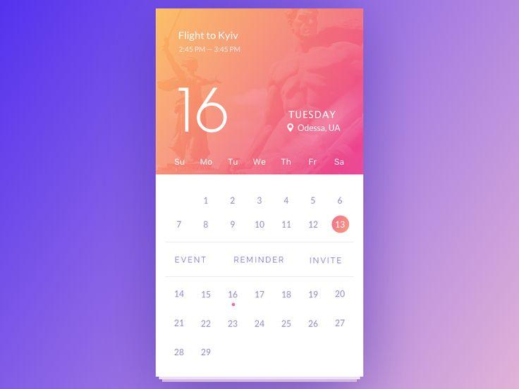 Calendar by Vladimir Gruev #Design Popular #Dribbble #shots