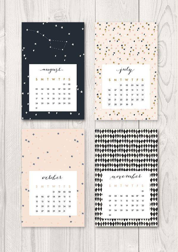 8 Cool Printable Calendars to Kick-Off the New Year plus 50 Other Beautiful Printables - calendar from ohthelovelythings.com