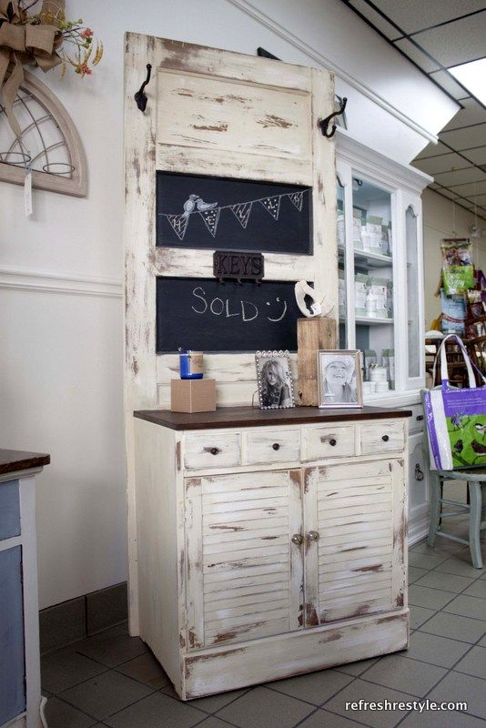 Beige Door and chest up-cycled to create a hall-tree #upcycle #furnituremakeover #paintedfurniture