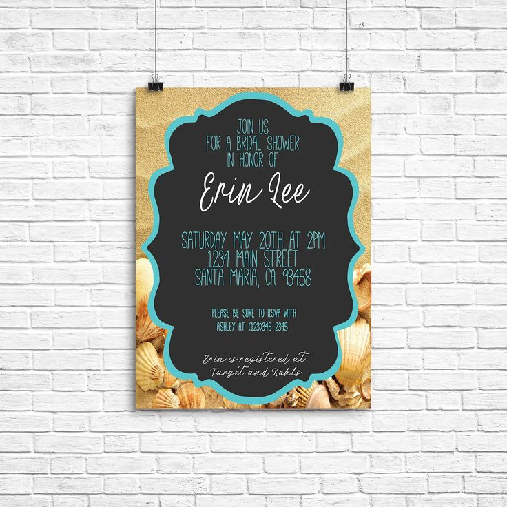 Beach bridal shower | bridal shower invite | turquoise and tan invitation | beach bridal shower invitation | turquoise invitation | bridal by DesignByTesoro on Etsy