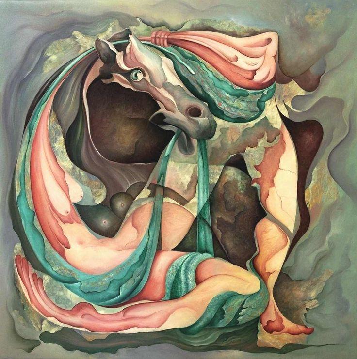 Khaled Atieh. Wedding Night. Onvoorwaardelijke liefde, het paard is het symbool voor de man, sterk, liefdevol en toegewijd.