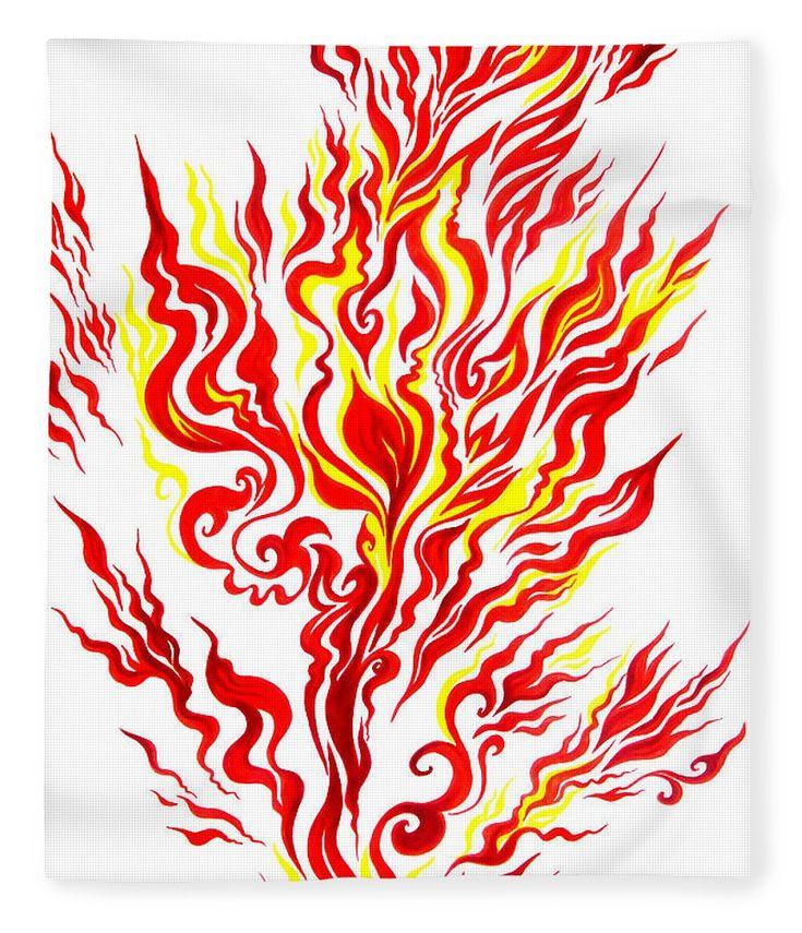 Огонь рисунок красками