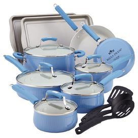 "An essential addition to any kitchen, this set of nonstick aluminum bakeware and cookware brings chef-worthy style home. Offers 4 pans and 2 skillets with porcelain enamel coating and glass lids, 2 baking sheets, and utensils.   Product: (2) Baking sheets(1) 1 Quart covered saucepan(1) 1.5 Quart covered saucepan(1) 2 Quart covered saucepan(1) 3 Quart covered saute pan(1) 6 Quart covered stockpot(1) 8"" Skillet(1) 10"" Skillet(1) Slotted turner(1) Slotted spoon (1) Solid spoonConstruction…"