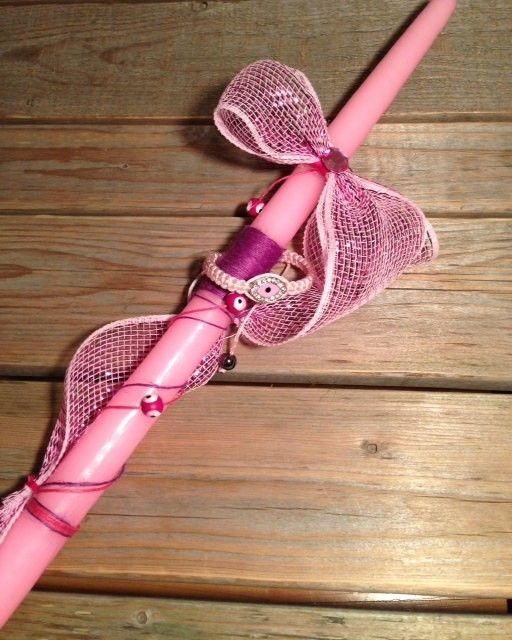 Pink Evil Eye Bracelet Easter Candle, $21.34 at the Greek Wedding Shop ~ http://www.greekweddingshop.com/