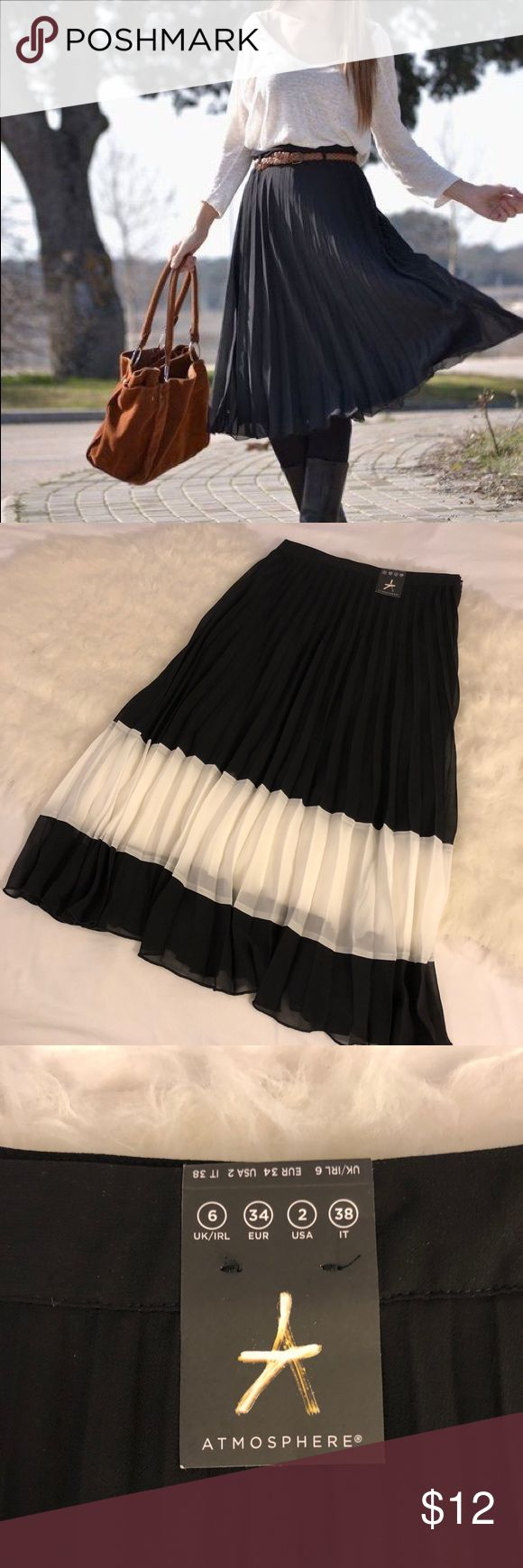 Pleated Midi Color Block Skirt NWT never worn. Intended to give as a gift but forgot. Lining ends right before the white panel. First pic is style inspo with same cut. Runs small and is 24 in waist. Primark Skirts Midi