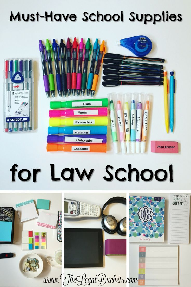 Highlighters, pens, Post-its- Oh My!   Check out the must have Law School supplies from The Legal Duchess