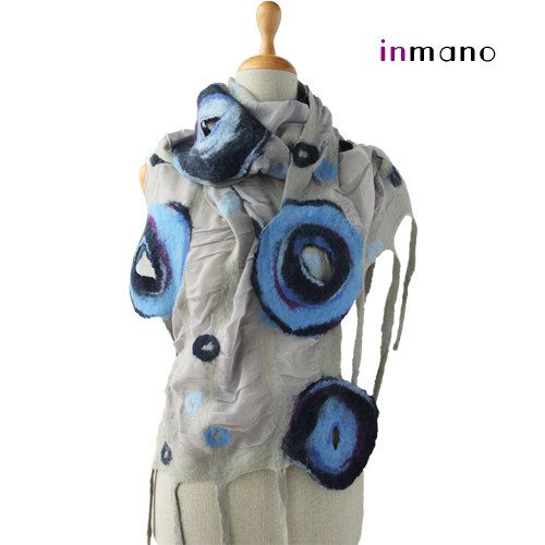 nuno felted delicate scarf gray and blue circles  silk by inmano