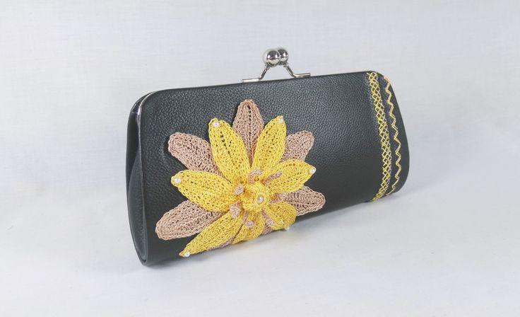 Lily flower leather clutch bag - Crochet Lilly flower handbag by DSfashion on Etsy