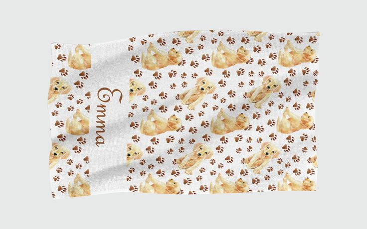 Personalised Beach Towel - Puppy Paw Prints by NJsBoutiqueCo on Etsy