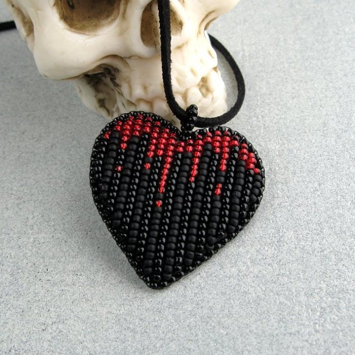 """Vampire Heart"" bead embroidery."