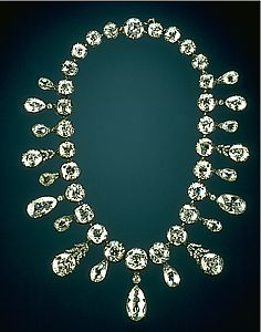 The Napoleon Diamond Necklace. Napoléon Bonaparte presented this necklace to his second wife, Marie-Louise, to celebrate the birth of their son, the emperor of Rome in 1811. In 1948 the necklace was sold to French dealer Paul Weiller, then to the New York diamond dealer Harry Winston and finally to Mrs. Marjorie Merriweather Post. In 1962, she gave the necklace, in its original case to the Smithsonian Institution. Smithsonian Museum of Natural History, Washington, DC. Photograph by Chip…