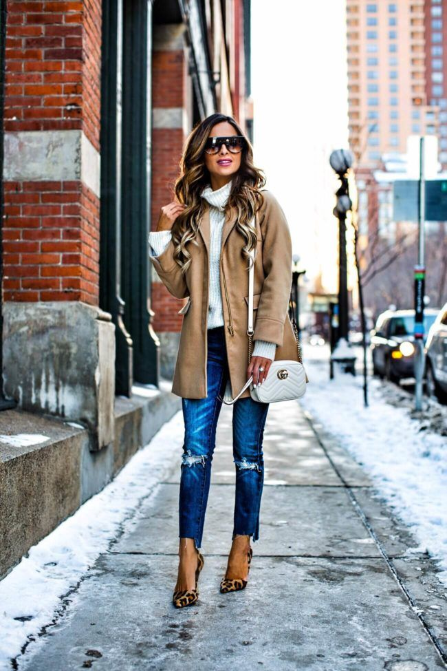 RE-WEARING WARDROBE CLASSICS - Topshop Camel Coat // Nordstrom White Turtleneck // BlankNYC Jeans // Gucci Marmont Bag // Celine Sunglasses // Kurt Geiger Leopard Heels January 19th, 2017 by maria