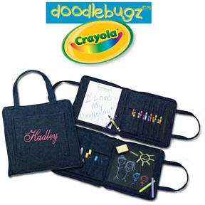 Doodlebag: This handy art bag comes complete with what any toddler will need to keep them busy on-the-go! It opens to reveal a pad of paper and pockets to hold your child's favorite Crayola colors. Turn the page and start a whole new adventure with chalk and a mini chalkboard. Complete with an eraser and 12 colorful pieces of Crayola chalk, the Doodlebag also has numerous pockets can hold additional chalk if desired. It even has a front pocket perfect to hold stickers and a zipper closure to…
