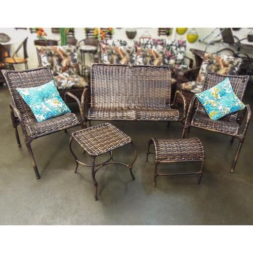 Conjunto de Cadeiras Namoradeira e Mesa Varanda Junco Rattan - Jardina