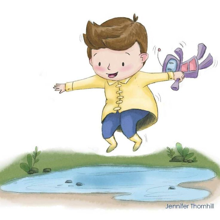 March of Robots 2018 theme JUMP by Jennifer Thornhill #marchofrobots #marchofrobots2018 #jump #illustration #childrensillustration #picturebookillustration  #jump #robot #puddlejumping
