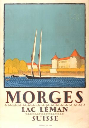 Morges Lac Leman Switzerland, 1920s - original vintage poster by Rene Martin listed on AntikBar.co.uk