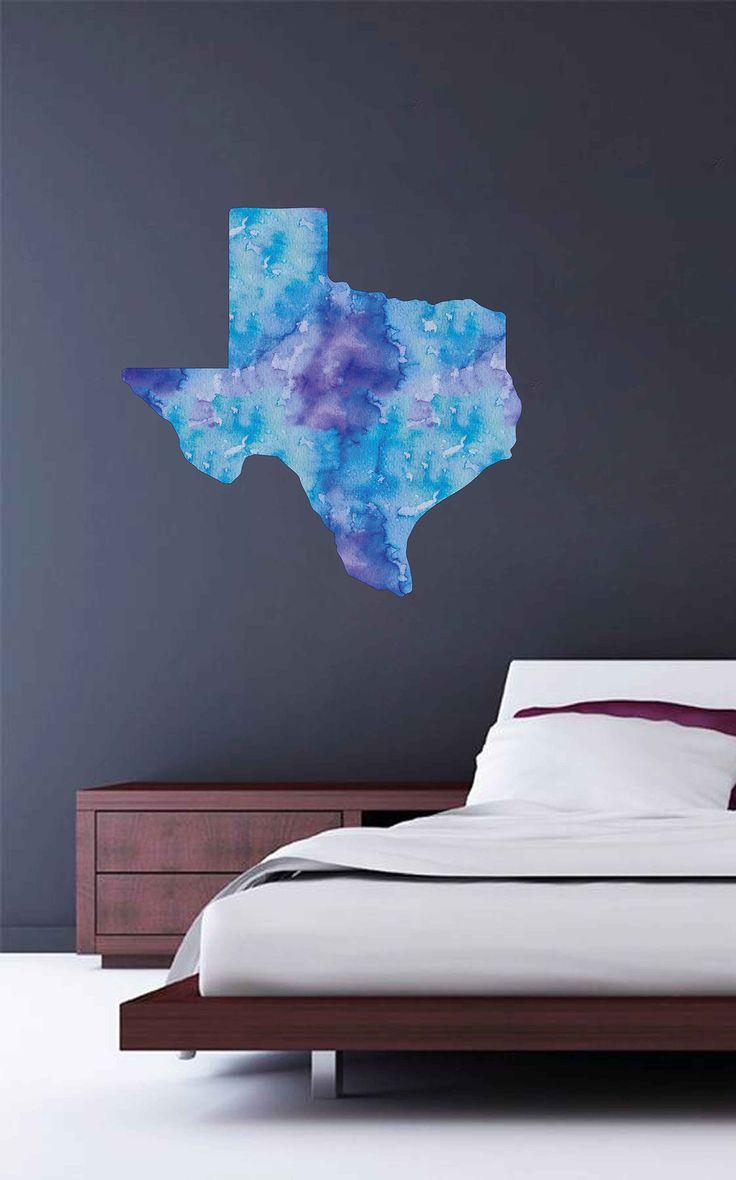 cik1905 Full Color Wall decal Watercolor Dallas state Texas living room bedroom