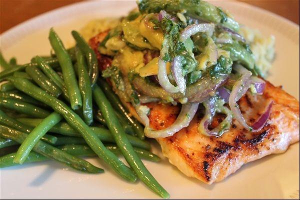 Salmon with Avocado Salsa: Coriander, Challenges, Black Peppers, Olives Oil, Avocado Salsa, Creative, Avacado Salsa, Dinners, Creativity