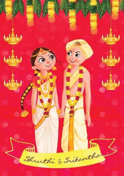 "illustrated wedding invitation India"""