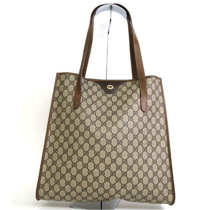 【中古】GUCCI(グッチ) 92 02 998 GGプラス トート バッグ PVC カーフ レザー ベージュ ブラウン ゴールド金具/PVCキャンバスで汚れに強く、軽量でオススメのバッグです。/新品同様・極美品・美品の中古ブランド時計を格安で提供いたします。