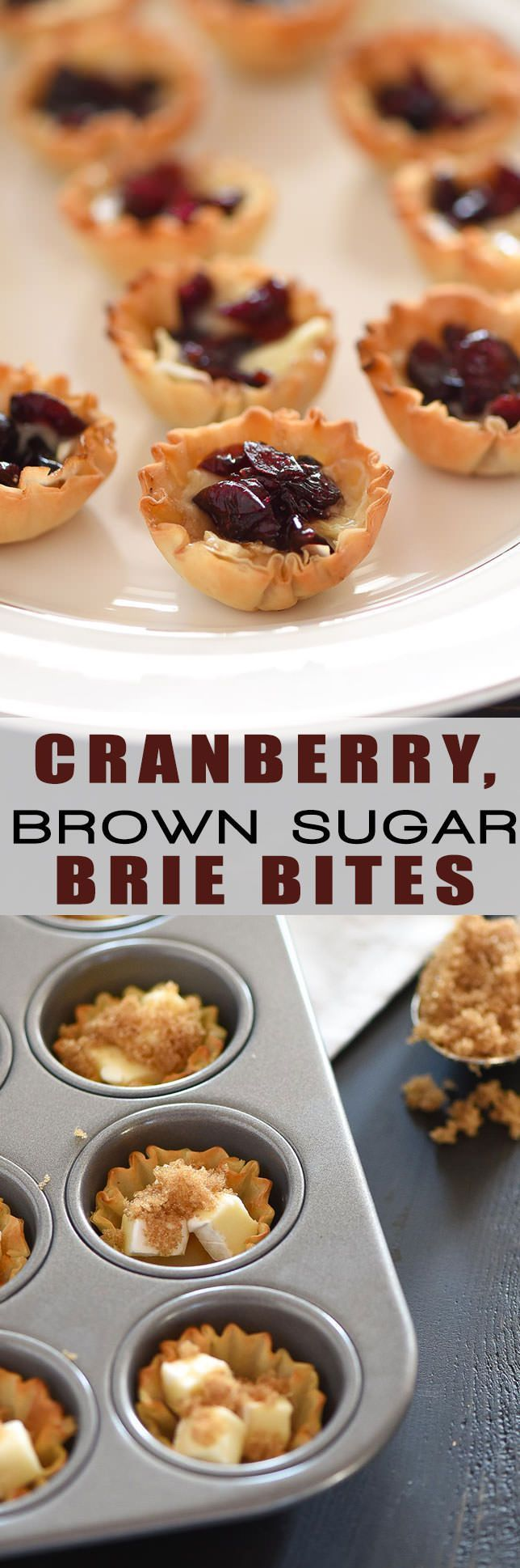 Cranberry, Brown Sugar Brie Bites are the perfect party appetizer. They are sweet, savory and are whipped together in under 20 minutes!