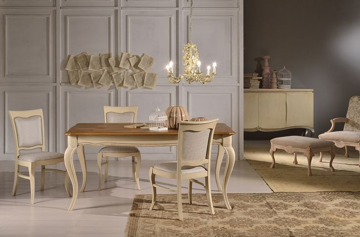 Miluna chair and Hortense table. New pieces of furniture from new Venetasedie Shabby chic collection.  In the back, Stradivari armchair and pouf and Love sideboard. Cool ambient.