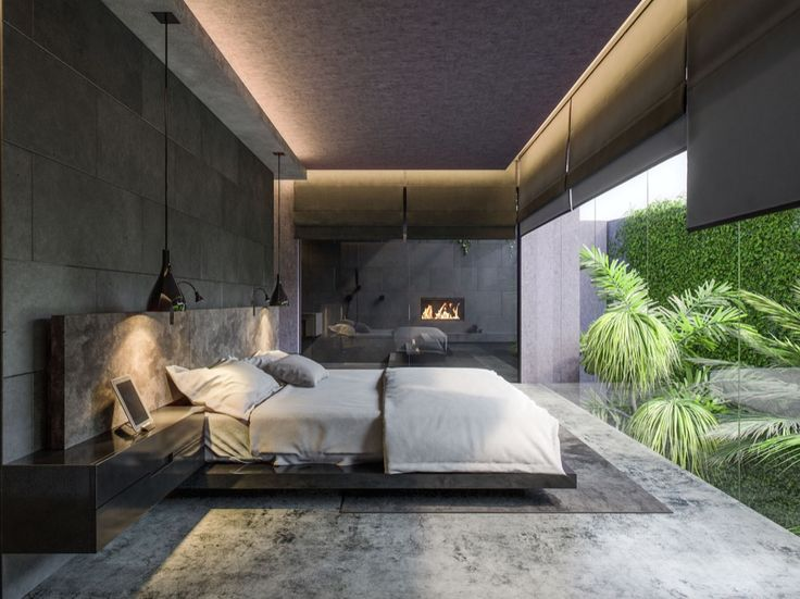 Grey colours in bedroom can be achieved with polished concrete floors/walls. Just don't forget about the light- natural and artificial. It should be plenty of it.