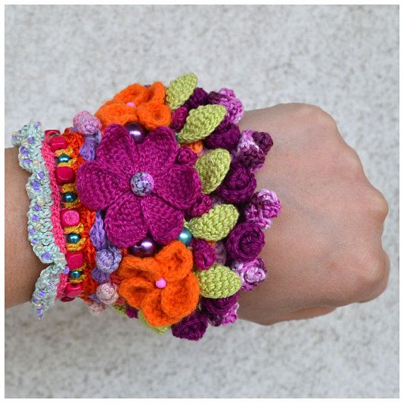 statement multicolor boho cuffooak ethno chic by Marmotescu