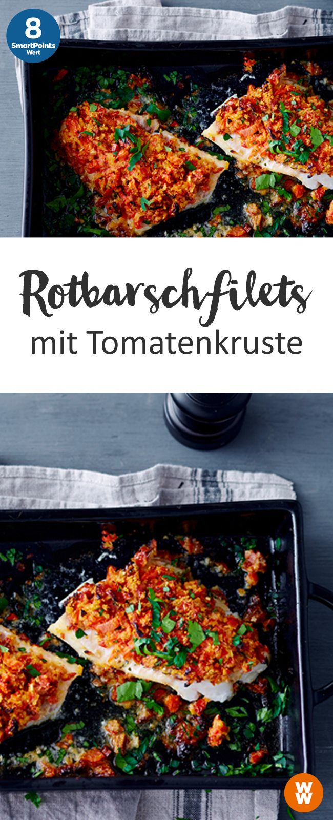 Rotbarschfilets mit Tomatenkruste | 2 Portionen, 8 SmartPoints/Portion, Weight Watchers, Fisch, fertig in 30 min.