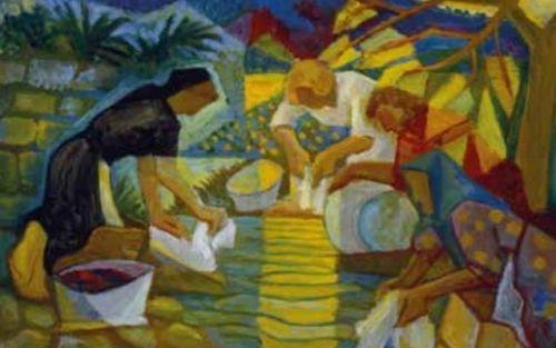 Lavandeiras, 1953, óleo sobre lenzo, 50 x 65 cm © Carlos Maside, VEGAP, Santiago de Compostela, 2014. Fondos da colección da familia Maside.