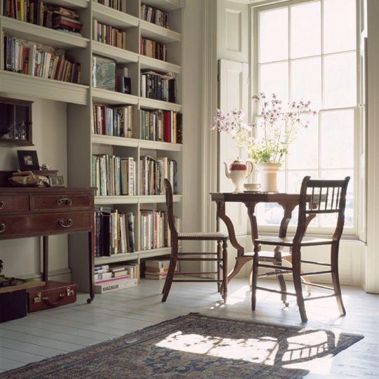 ♥ antique furnitureLights, Libraries, House Tours, Bays Windows, Interiors, Living Room, Bookcas, Reading Corner, Nooks