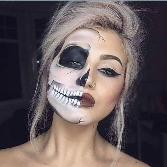20 skull makeup ideas more skull face makeupskull face painthalf skeleton makeuphalloween - Halloween Skull Face Paint Ideas