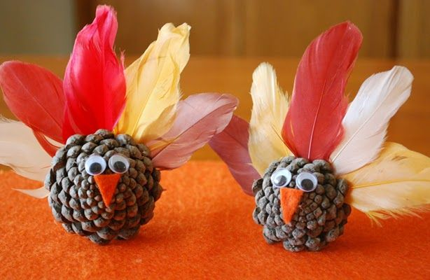 Pinecone Turkeys: Pinecones are everywhere in the Fall, why not re-purpose them with some craft store leaves and googly eyes into cute decorations or even gifts by making these Pinecone Turkeys from Preschool Crafts for Kids.
