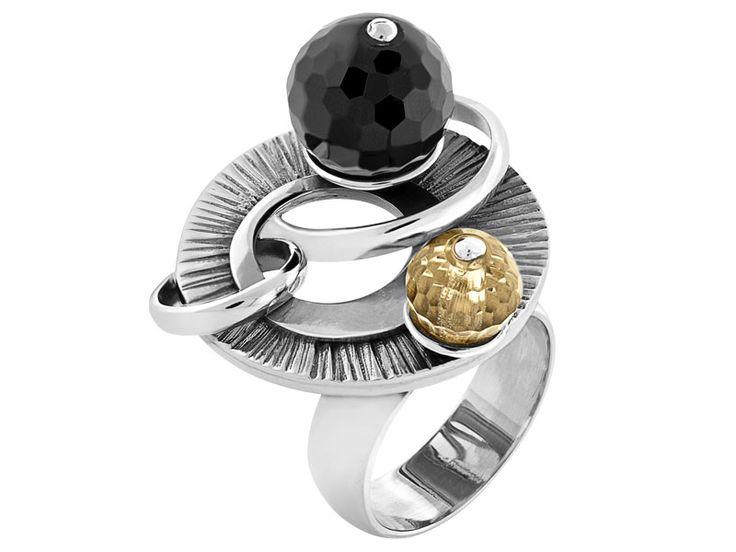 Pierścionek srebrny z onyksem i kryształem - wzór AP01-3284 / Apart