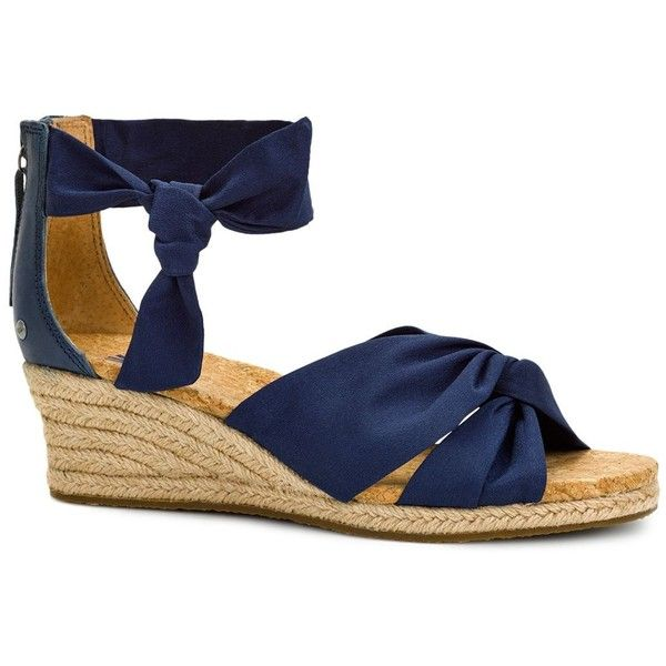 Ugg Starla Wedge Espadrille Sandals ($100) ❤ liked on Polyvore featuring shoes, sandals, navy, navy blue wedge sandals, navy espadrilles, navy wedge shoes, navy wedge espadrilles and wedges shoes