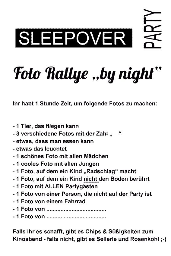 Foto-Rallye Sleepover- Party sw blanko vorschau | Kids | Pinterest ...