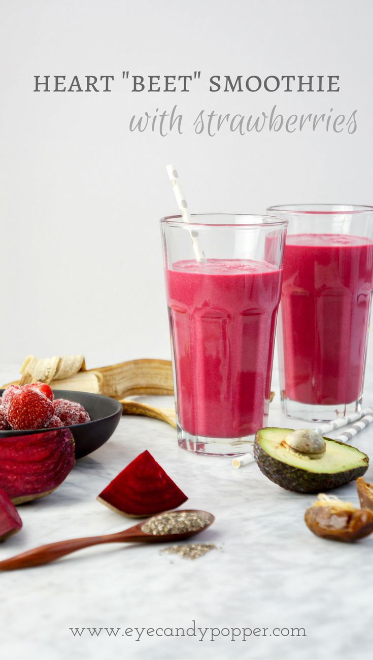 Heart #Beet #Smoothie with Strawberries | #DairyFree | Refined Sugar-Free | #Vegan via @eyecandypopper