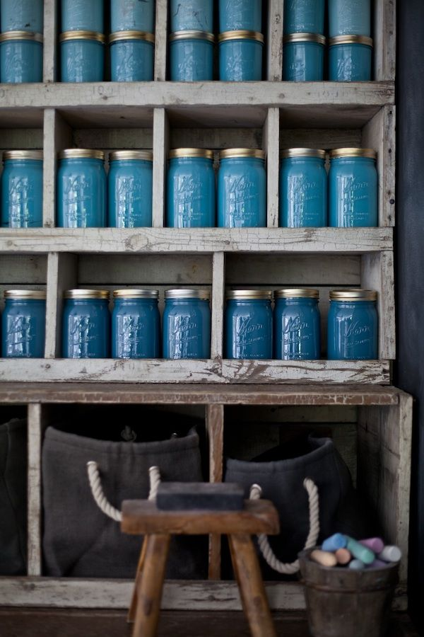 Blue canning jars