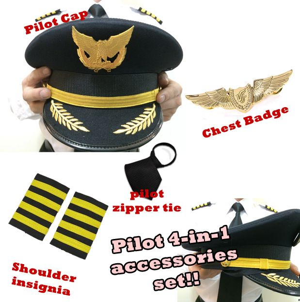 PILOT ACCESSORIES SET | PILOT COSTUME | PILOT COSPLAY | PILOT AIR CREW | STEWARDESS | PILOT BADGE | PILOT CHEST BADGE | PILOT INSIGNIA | PILOT SHOULDER BADGE | PILOT CAP | PILOT HAT | AIRLINES SINGAPORE STEWARDESS | PILOT WINGS | AVIATOR WINGS