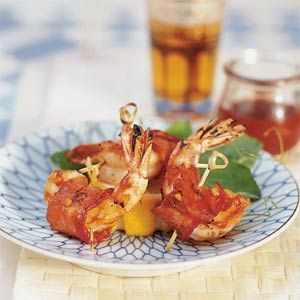 "Barbecued Bacon Shrimp | One of my quick ""go-to appetizers.  Also make Fresh pineapple wrapped in bacon, and water chestnuts wrapped in bacon."