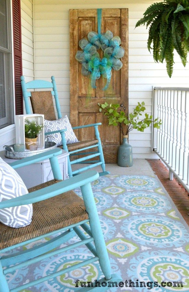 148 best spring porch decorating ideas images on pinterest for Front porch table ideas