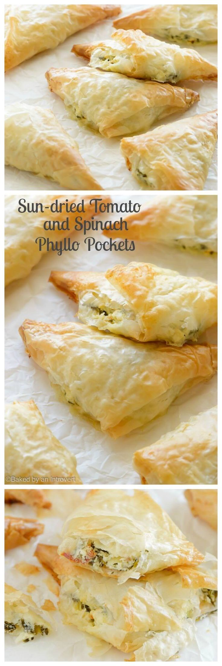 Layers of phyllo wrapped around a creamy sun-dried tomato and spinach filling. Light, crispy and flakey, these sun-dried tomato spinach phyllo pockets make for a great snack!