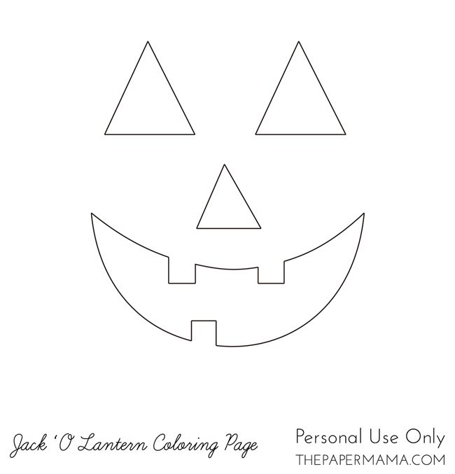 Jack 'O Lantern Coloring Page // thepapermama.com | Tin ...