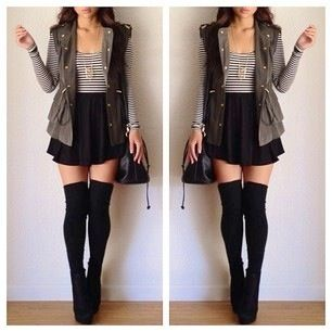 Fall outfit. Love the thigh high socks :)