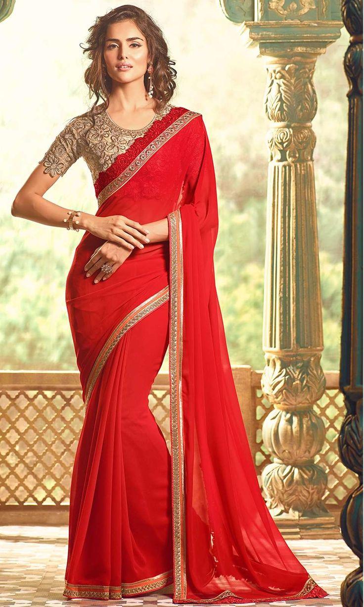 Shop festive Red Party wear Designer Saree (SKU Code : SAEJDSTFH17008) Online at IshiMaya Fashion
