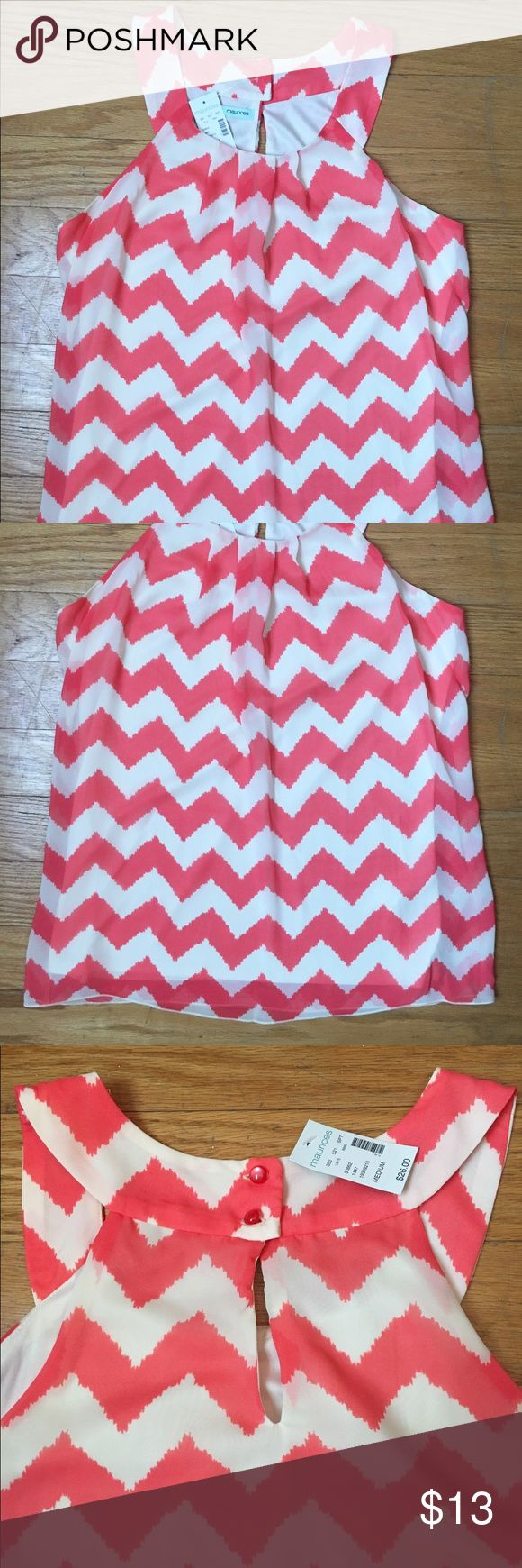 Coral and white chevron blouse Coral and white chevron chiffon tank top. NWT white is more of a slightly off white. Maurices Tops Tank Tops