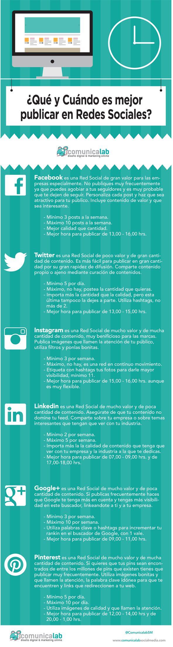 Qué y Cuándo es mejor publicar en Redes Sociales #infografia #infographic #SocialMedia
