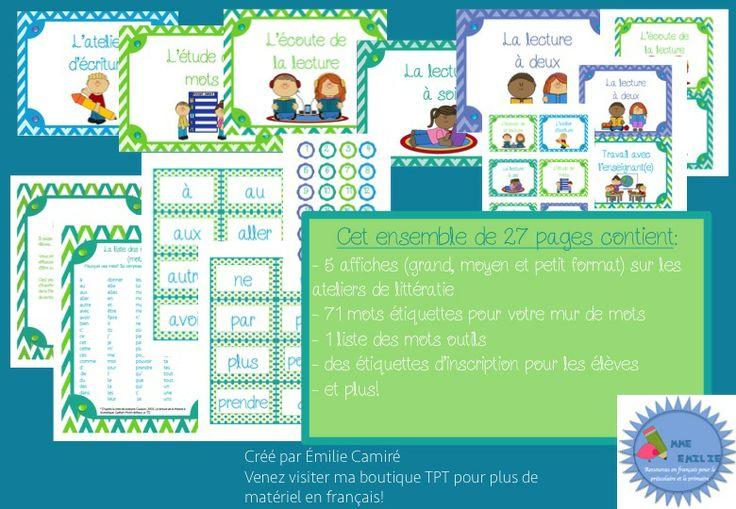 Ensemble Ateliers de littératie / Les 5 au quotidien/ French Daily five kit